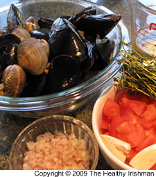 Steamed Mussels and Clams with Fresh Tomatoes and Thyme